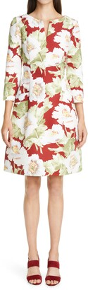 Oscar de la Renta Poppies Print Faille Dress