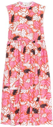 Marni Printed linen and cotton midi dress
