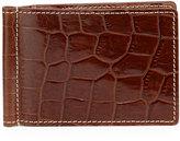 Neiman Marcus Alligator-Embossed Leather Flip Wallet with Money Clip, Cognac