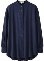 Uniqlo Women Idlf Rayon Oversized Stand Collar Long Sleeve Shirt