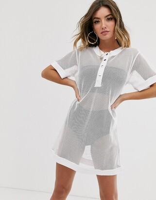 NA-KD Na Kd mesh oversized dress-White