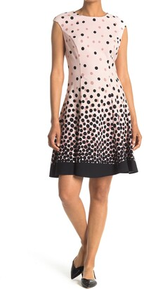 London Times Dot Scuba Fit & Flare Dress