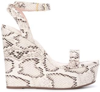 Schutz Anabela 200 mm python-effect wedge sandals