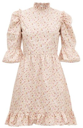 Batsheva Puff-sleeved Floral-print Cotton Mini Dress - Womens - Pink Multi
