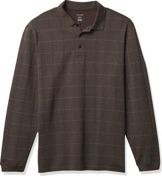 Van Heusen Men's Big & Tall Big Flex Long Sleeve Jaspe Windowpane Polo Shirt