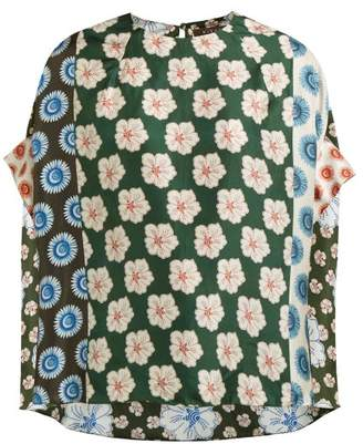 Biyan Swarna Floral-pint Silk Blouse - Womens - Blue Multi