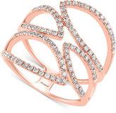 Effy Pavé Rose By Diamond Ring (3/4 ct. t.w.) 14k Rose Gold