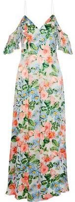 Alice + Olivia Alves Cold-shoulder Floral-print Fil Coupe Chiffon Maxi Dress