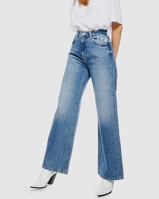 Topshop Slim Wide Leg Jeans