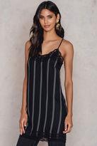 Pinstriped Lace Slip Dress