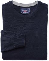 Charles Tyrwhitt Navy Merino Cotton Crew Neck Wool Sweater Size Large