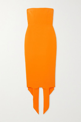 Alex Perry Hall Strapless Draped Crepe Midi Dress - Orange