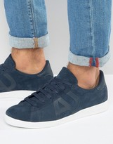 Armani Jeans Suede Logo Trainers In Navy