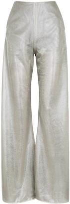 Paula Knorr Silver Wide-leg Lame Trousers