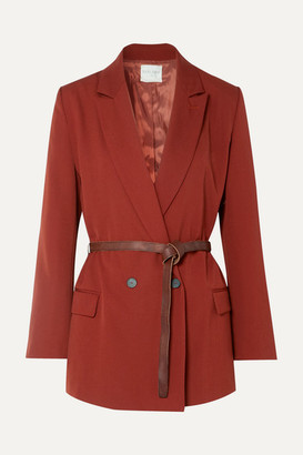 Forte Forte Belted Double-breasted Twill Blazer - Brick