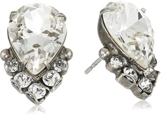 Sorrelli Core Antique Silver Tone Crystal Teardrop and Cluster Post Stud Earrings