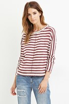 Forever 21 FOREVER 21+ Contemporary Striped Reverse French Terry Top
