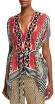 Etro V-Neck Multi-Print Belted Top, Red
