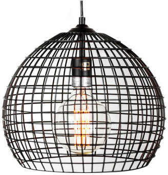 """American Art Decor Industrial Style Caged Metal Pendant Lamp With Edison Bulb, 13"""""""