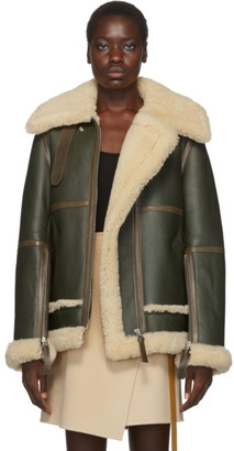Acne Studios Green and White Shearling Long Jacket
