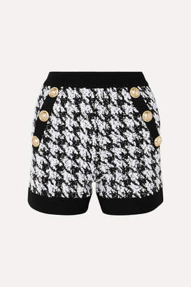 Balmain Button-embellished Houndstooth Boucle-tweed Shorts - Black