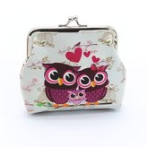 Cansave_Wallet Wallet Cansave Women Lady Retro Vintage Owl Leather Small Wallet Hasp Purse Clutch Bag