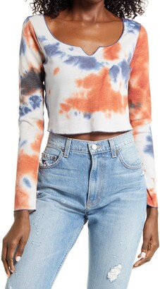 ALL IN FAVOR Tie Dye Waffle Knit Crop Top