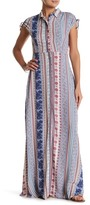 En Creme Print Slit Sleeve Maxi Dress