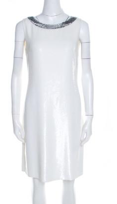 Prada Off White Sequined Silk Sleeveless Shift Dress S