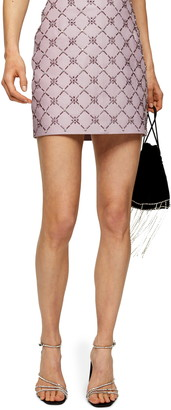Topshop Bead Embroidered Leather Miniskirt