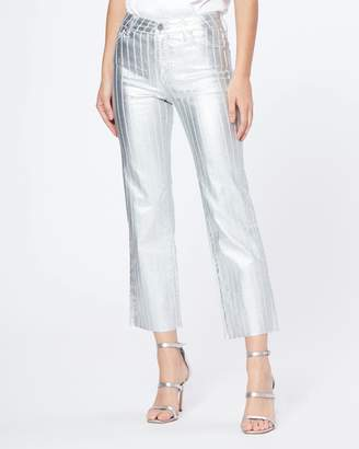 Paige ATLEY ANKLE FLARE RAW HEM-SILVER COATED STRIPE