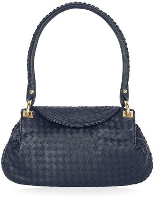 Fontanelli Dark Blue Woven Italian Leather Flap Shoulder Bag