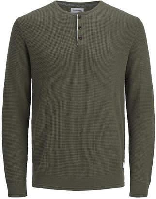 Jack and Jones Men Autumn Long Sleeved Grandad Sweater With Contrast Details