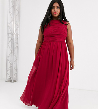 Asos DESIGN Curve Bridesmaid maxi dress with soft pleated bodice-Red