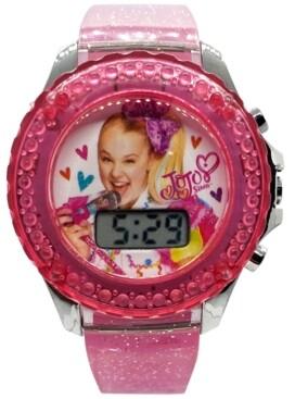 Accutime Kid's JoJo Swia Digital Pink Glitter Silicone Strap Watch 36mm