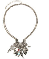 Arizona Silver-Tone Feather & Owl Charm Necklace
