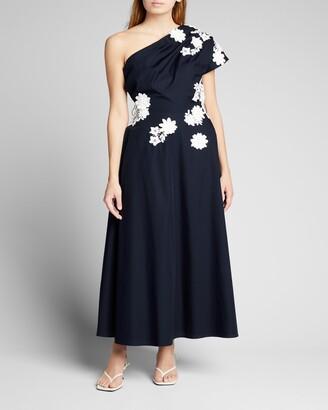 Lela Rose Floral-Applique One-Shoulder Midi Dress