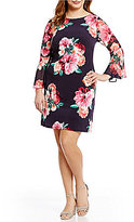 Jessica Howard Plus Floral-Print Bell-Sleeve Shift Dress