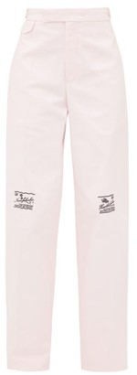 Raf Simons Embroidered Cotton Twill Wide Leg Trousers - Womens - Pink