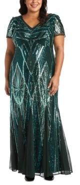 R & M Richards Plus Size Sequinned Beaded Long Dress
