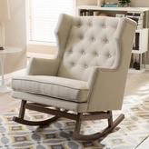 Baxton Studio Iona Mid-Century Beige Fabric Upholstered Rocking Chair