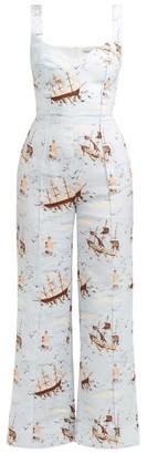 Emilia Wickstead Layla Ship-print Poplin Jumpsuit - Green Print