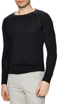 The Kooples Ribbed Wool Leather Trimmed Sweater