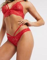 Asos Design DESIGN Maci lace button up strappy hipster bikini bottom
