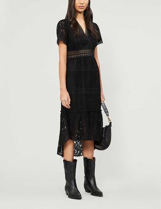 The Kooples Chrochet V-neck stretch-lace midi dress