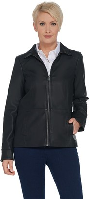 Denim & Co. Faux Leather Zip Front Jacket with Seaming Detail