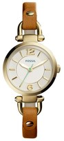 Fossil Women's 'Georgia' Round Leather Strap Watch, 26Mm