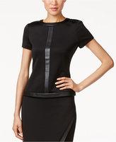 Calvin Klein Faux-Leather-Trim Short-Sleeve Top