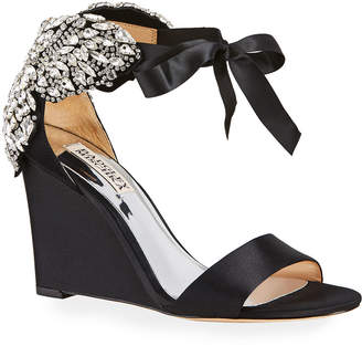 Badgley Mischka Heather Jeweled Butterfly Ankle-Tie Pumps