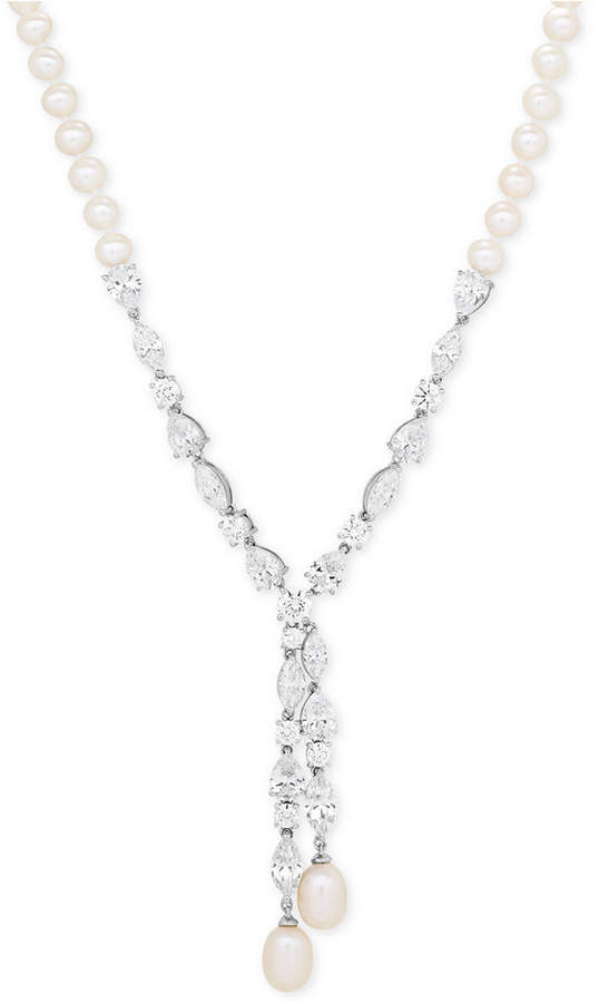 Arabella Cultured Freshwater Pearl (5mm & 9 x 7mm) & Swarovski Zirconia Lariat Necklace in Sterling Silver, Created for Macy's